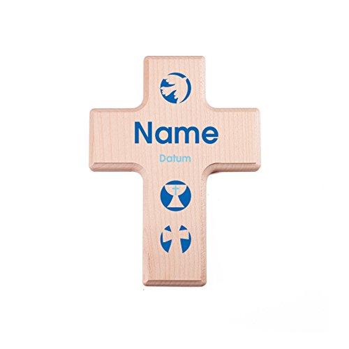 Striefchen® Holzkreuz zur Taufe / Kommunion / Konfirmation mit Namen und Datum für Jungen
