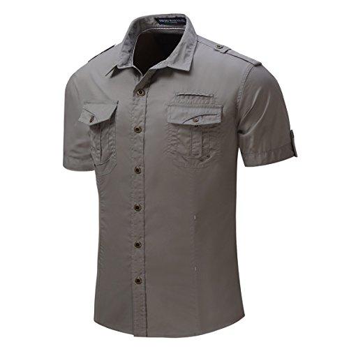 Haroty Herren Shirts mit Kurzarm Volltonfarbe Top Sweatshirt Hemd Arbeitshemd Oberteil (M)