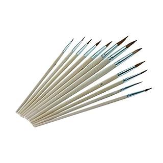 Pinsel Set 12 Stücke professionelle Detail Pinsel, hochwertige Miniatur Pinsel halten einen feinen Punkt und Frühling, für Aquarell, Öl, Acryl