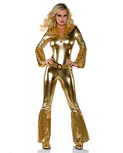 Horror-Shop 70's Disco Diva Overall Gold aus Stretchstoff Gr. XS, S, M, L L
