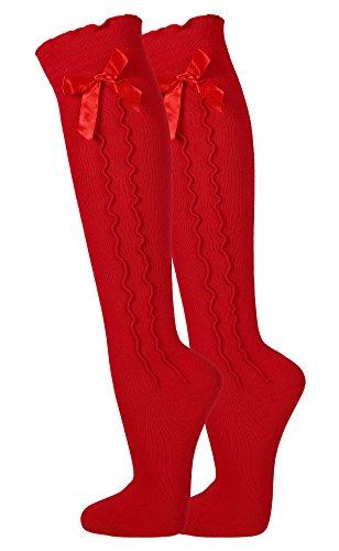 achten Kniestrümpfe mit Schleife für Damen zu Dirndl und Lederhose - Schöne Strümpfe in verschiedenen Farben (Rot, 39/42) (Rote Trachten Socken)