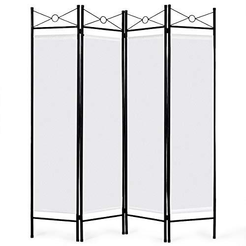 DREAMADE Raumteiler Trennwand, Raumtrenner Trennwände Sichtschutz Wand Faltbar, Wandschirm Paravent, Spanische Wand für innen und draußen (Weiß)