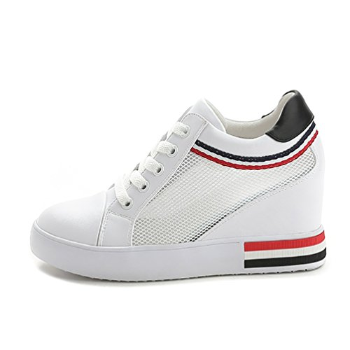 Sportliche Damen Plateau Low Sneakers Bequeme Schnürer Schuhe Low-Top Keilabsatz UO37S
