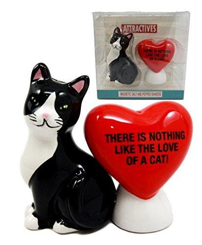 Atlantic Sammlerstücke Valentine Katze mit Herz Salz- und Pfefferstreuer The Love Of A Cat Keramik magnetisch Figur Set 8,9cm H -