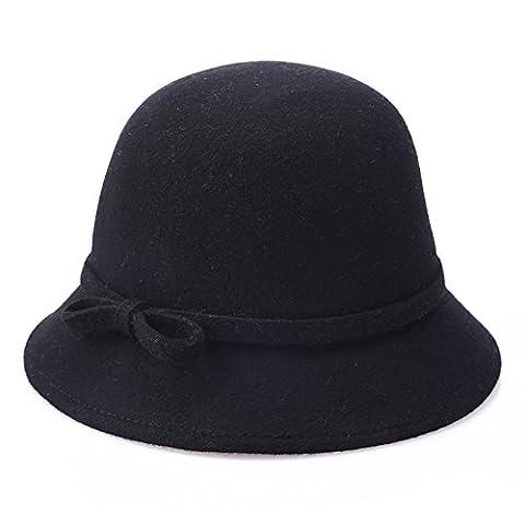 MEICHEN-pure laine tissu bouclé godet Europe dome Hat hats ladies Hat fisherman Hat fashion chapeaux pour les discours de mariage,Black