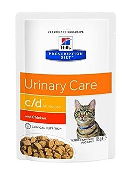 Hill's Prescription Diet Feline C/D Troubles Urinaires Nourriture pour Chat Sachets 12x85g Poulet