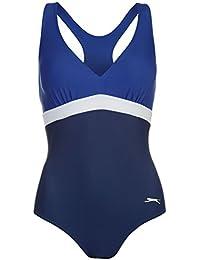 Slazenger Damen Medallist Badeanzug Schwimmanzug Kontrast Details Logo