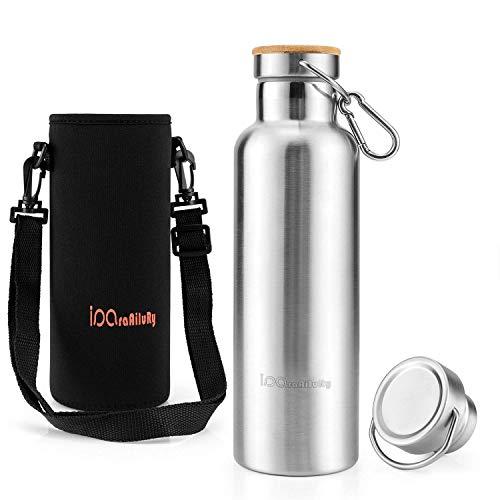 iParaAiluRy Trinkflasche Edelstahl mit Bambus Kappe (2 Trinkverschlüsse) - BPA freie Thermosflaschen 500/600/750/1000ml - Vakuumisolierte Doppelwandig Thermoskanne - Glas Isolierflasche