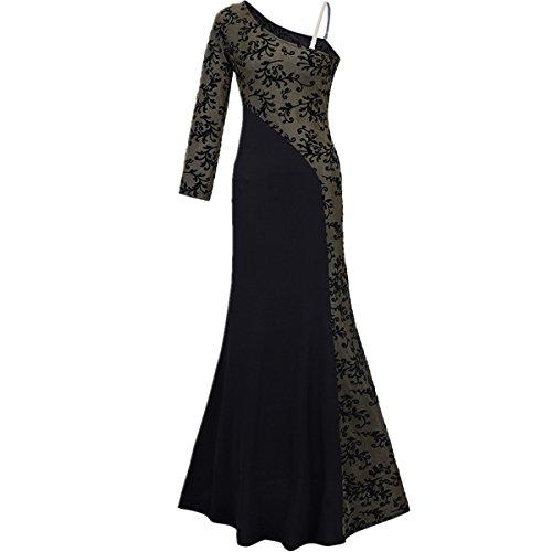 Monissy Abendkleid Damen kleider damen elegant Lange kleider damen festlich kleider  damen Sexy Cocktail Kleider Spitze Schwarz 2