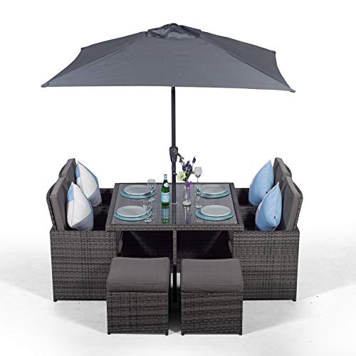 Giardino Rattan Cube Dining Set | Square 4 Seater Grey Rattan Dining Set | Outdoor Poly Rattan Garden Table & Chairs Set | Patio Conservatory Wicker Garden Dining Furniture with Parasol & Cover