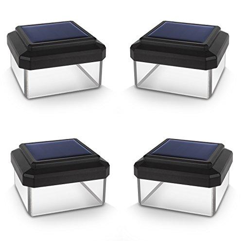Green Blue GB125 Solarlampe Zaunpfahl Gartenlicht mit Dämmerungssensor Warmweiß 4000K LED Akku (4 Stück 60x40 mm)