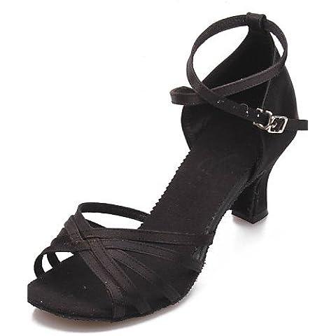 ELA- Scarpe da ballo - Non personalizzabile - Donna - Latinoamericano - Tacco spesso - Satin - Nero / Blu / Marrone / Rosso , black-us7.5 / eu38 / uk5.5 / cn38 , black-us7.5 / eu38 / uk5.5 / cn38