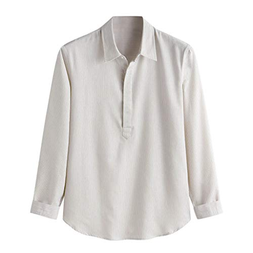 Tyoby Herren Gestreifte Stickerei Lose Langarmshirts,Einfach Komfortables Basic Hemden(Khaki,XXXL)