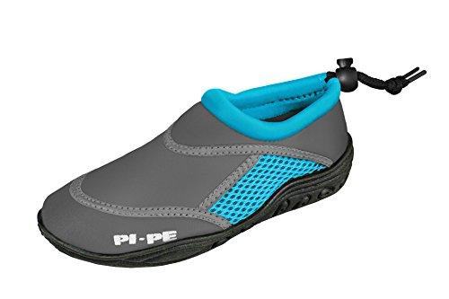 PI-PE Active Badeschuhe Kinder Jungen und Mädchen Aquashoes Schwimmschuhe (Grey/Cyan, 25)