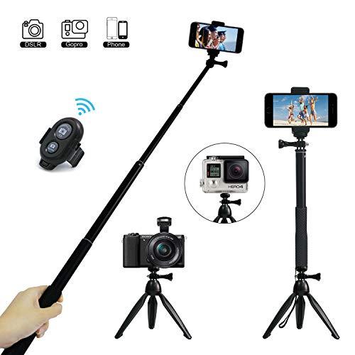 Bastone Selfie, JPARR 3 in 1 Estensibile Selfie Stick Con Otturatore Remoto Wireless e Treppiede Rimovibile Supporto Telefono Rotazione di 360° per Gopro / DSLR / iPhone / Samsung e Android 3.5-6 Inch Smartphone