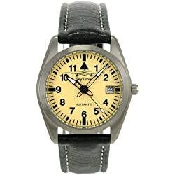 Skytimer 507526004Aviator Watch Automatic Miyota 8215Titanium Case Glass Base, 5ATM water resistant leather band