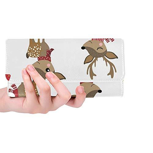 Einzigartige Nette Rotwild-Winter-Kostüm-Frauen-dreifachgefaltete Mappen-Lange Geldbeutel-Kreditkarte-Halter-Fall-Handtasche