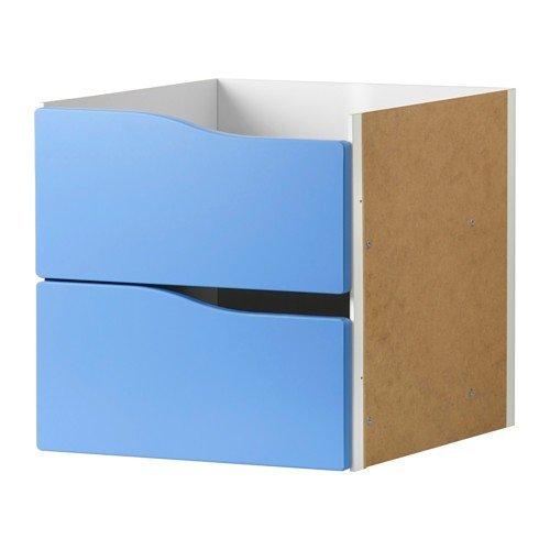 IKEA KALLAX Einsatz mit 2 Schubladen ohne Griff in blau; (33x33cm); passt zu EXPEDIT (Ikea 2 Schubladen)