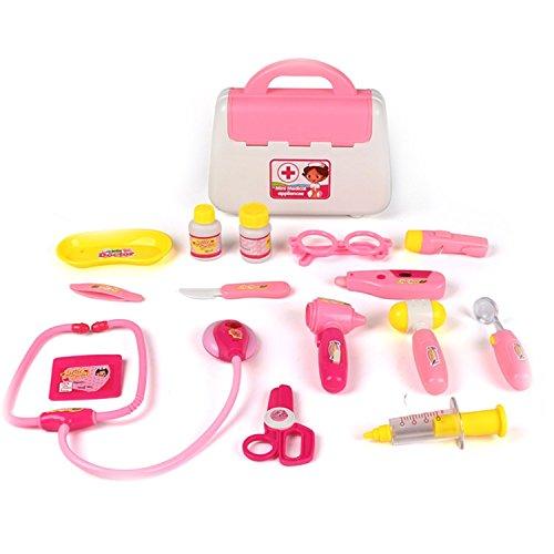 Irady Arztköfferchen Doktorkoffer Medical Kits Spielset Rollenspiel Spielzeug für Kinder (Rosa)