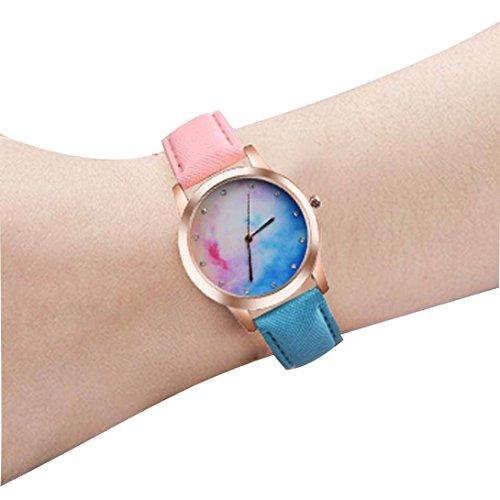 Valentinstag Uhren Dellin Retro Rainbow Design Lederband Analog Alloy Quarz-Armbanduhr (C, Multicolor)