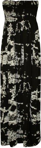 WearAll - Übergröße Damen Bedruckt Gerafft Trägerlos Bandeau Maxi-Kleid - 4 Mustern - Größen 44-50 Batik