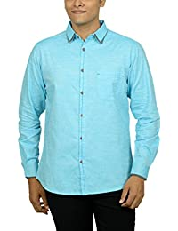 Kuons Avenue Men's Slim Fit Blue Aqua Self Weave Cotton Silk Traditional Casual Party Shirt