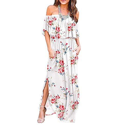 Zegeey Damen Kleid Sommer Kurzarm Schulterfrei Einfarbig Blumenkleid Maxi Kleid A-Linie Kleider Vintage Elegant LäSsige Kleidung Rundhals Basic Casual Strandkleider(X15-Weiß,L)