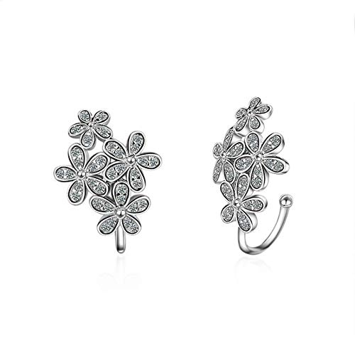 Bishilin Versilbert Ohrklemmen ohne Ohrloch Blumen Zirkonia Ear Cuff Tragus Silber Ohrringe