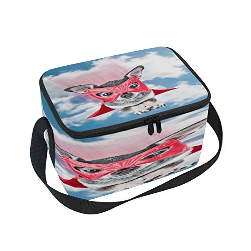 Use7 Hispter Chihuahua Dog Flying Blue Sky Isolierte Lunchbox Kühltasche Lunchbox für Picknick, Schule