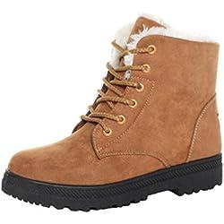 Minetom Donna Autunno Inverno Lace Up Pelliccia Neve Stivali Snow Boots Stivali Cavaliere Sneaker Moda Cachi EU 41