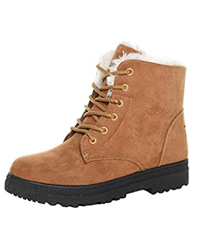 Minetom Womens Suede Flat Platform Sneaker Shoes Fur Lined Winter Lace Up Snow Boots Khaki UK 3