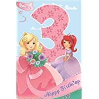 3rd Birthday Card for Girl/Wrapped / Foiled/Age 3