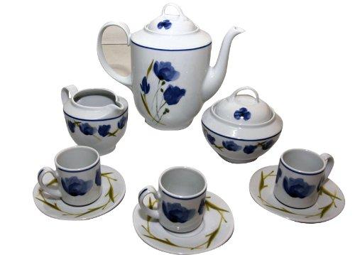 Santa Clara Juego café, Porcelana, Blanco y Azul, 30x26.5x24.5 cm.