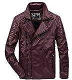 Herren Herbst Winter Pu Polyesterfaser Modisch Junge Leute Verdicken Classic Koreanische Version Lederbekleidung Jacke Geeignet Weich Stoffe Klassisch Stil Lederjacke Jungs (Color : Rot, Size : XL)