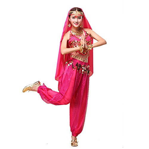 Tanz-Outfits Tanzkleidung Bauchtanz -Kostüm-Set Indian Dance Sexy Top&Indian Dance Sequins Pant Performance dark pink (Professionelle Jazz Dance Kostüme)