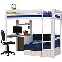 Preisvergleich für Dynamic24 Thuka Hochbett 90x200 Kiefer massiv Bett Kinderbett Gästebett Schreibtisch