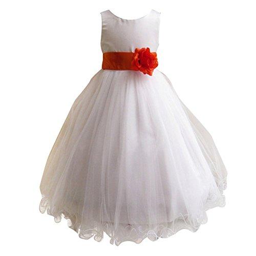 LSERVER Mädchen Prinzessin Kleid mit 'Blumen'-Deco, Rot, Gr. 122/128( Herstellergröße: 130)