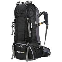 Daypack Bolsa de Alpinismo de Gran Capacidad 60L Mochila de Viaje al Aire Libre a Prueba de Agua con Funda para Lluvia (Negro) para Alpinismo