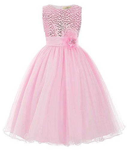 Elegant Paillette aermellos A-linie Urlaub Kleid Partykleid Ballkleid 2-3 jahre (Kleid Kinder Rosa)