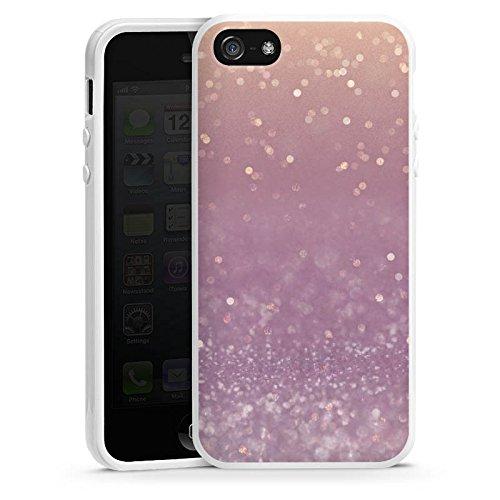 Apple iPhone 5 Housse Étui Silicone Coque Protection Paillettes Brillance Bling-bling Housse en silicone blanc