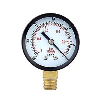 Man9Han1Qxi -30in 2-Zoll-Messuhr Unterdruckmanometer 1/4 Zoll NPT-seitliches Manometer 1