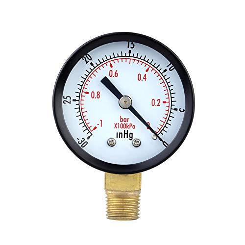 Man9Han1Qxi -30in 2-Zoll-Messuhr Unterdruckmanometer 1/4 Zoll NPT-seitliches Manometer 1 (Manometer Bleistift)
