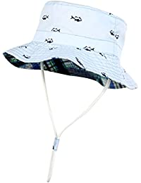 934c61b0221 VBIGER Kids Cotton Bucket Hat Reversible Sun Hat Foldable Beach Cap with  Adjustable Chin Strap