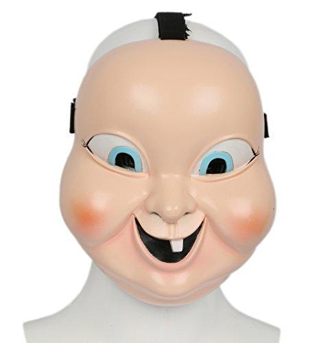 Beige Vollgesicht Gruselige Baby Puppe Doll Cosplay Kostüm Merchandise (Baby Doll Kostüme Für Halloween)