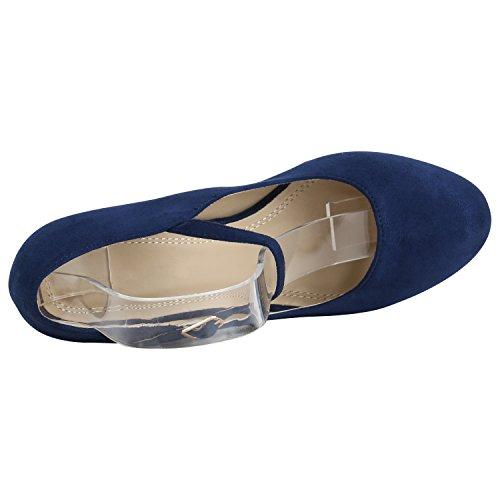 Damen Schuhe Pumps T-Strap High Heels Riemchenpumps Stilettos 157207 Dunkelblau Berkley 40 Flandell - 3