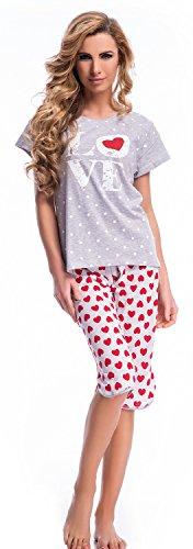 dn-nightwear Damen Schlafanzug, Pyjama aus 100% Baumwolle Grey Melange