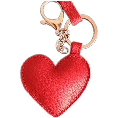 Leather sprouting love heart couple car keychain handmade