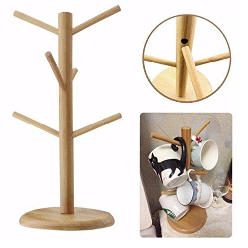 LJSLYJ Kaffeetasse Becher Halter Baum Ständer Küche Aufbewahrung Rack, aus Holz