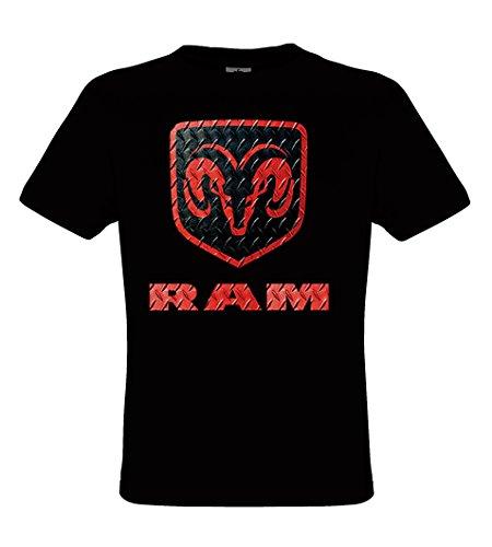 DarkArt-Designs RAM Logo - Dodge T-Shirt für Kinder und Erwachsene - Automotiv Shirt PKW Pickup Party&Freizeit Lifestyle regular fit, Größe L, schwarz