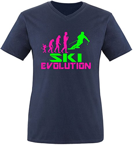 EZYshirt® Ski Evolution Herren V-Neck T-Shirt Navy/Pink/Neongr